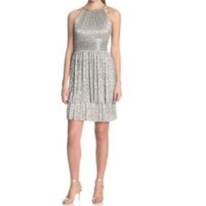NWT Maggy London Taupe & Silver Halter Layer Dress